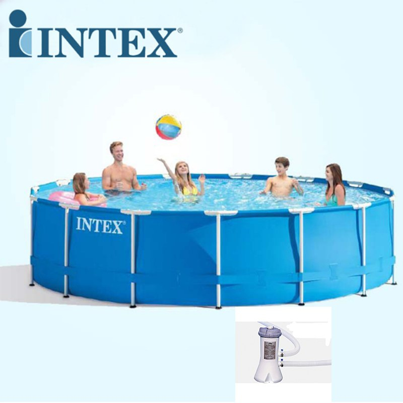 large intext above ground pool with free filter pump