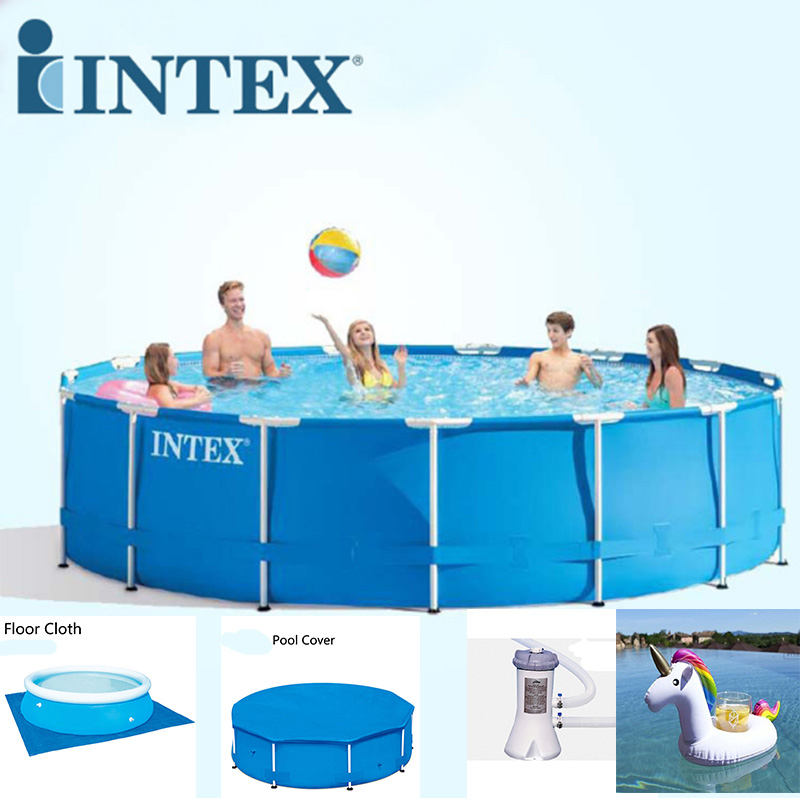 large intex above ground pool with free floor cloth, pool cover, filter pump and floating toy