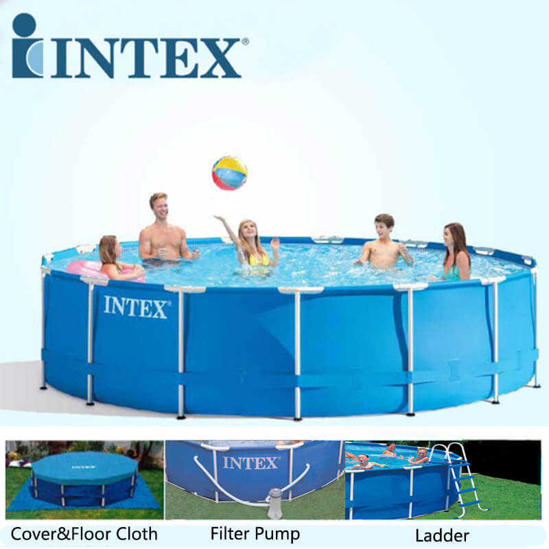 large intext above ground pool with free pool cover, filter pump and a ladder.